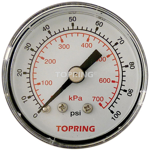 "Pressure Gauge 1-1/2"" - 1/8 NPTM Back Mount 100 PSI BT905 